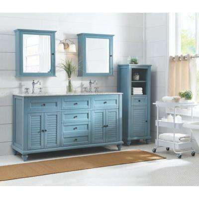 Hamilton Shutter 61 in. W x 22 in. D Double Bath Vanity in Sea Glass with Granite Vanity Top in Grey with White Sink