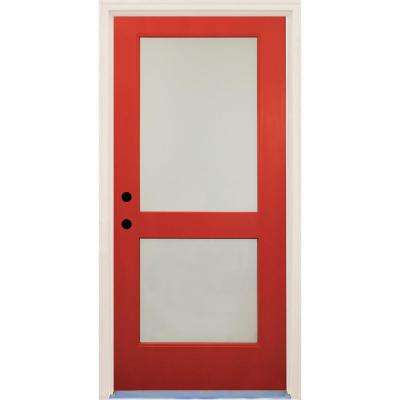 36 in. x 80 in. Elite Engine Satin Etch Glass Contemporary 2 Lite Painted Fiberglass Prehung Front Door with Brickmould