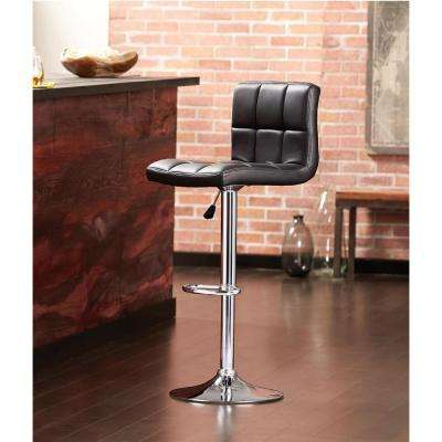 Adjustable Height Black Swivel Cushioned Bar Stool