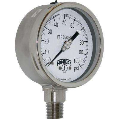 PFP Series 4 in. Stainless Steel Liquid Filled Case Pressure Gauge with 1/2 in. NPT LM and Range of 0-100 psi