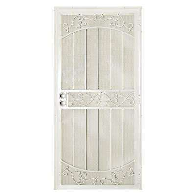 36 in. x 80 in La Entrada Navajo White Surface Mount Outswing Steel Security Door with Perforated Metal Screen
