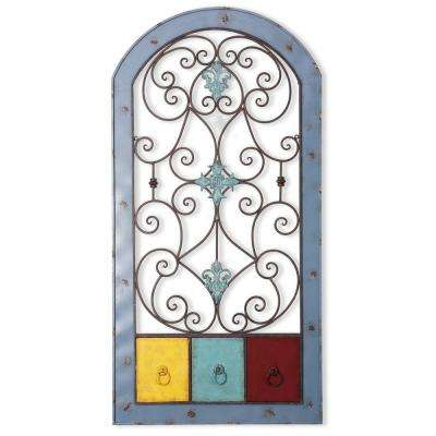 24 in. x 47.5 in. Rusted Light Blue Frame Iron Wall Decor