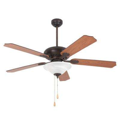 Whitney 52 in. Oil-Rubbed Bronze Ceiling Fan in with 3-Light and 72 in. Lead Wire