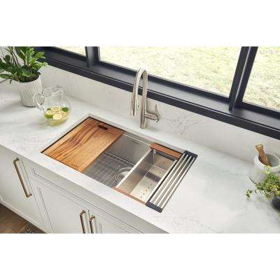 32 in. Single Bowl Workstation Tight Radius Undermount 16-Gauge Stainless Steel Kitchen Sink with Sliding Accessories