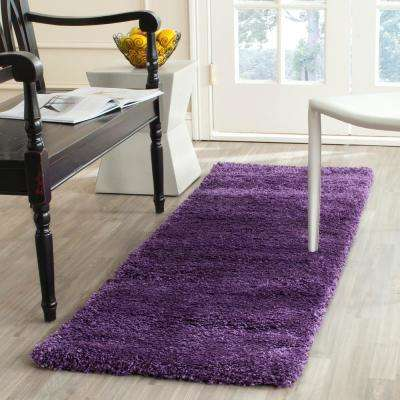 Milan Shag Purple 2 ft. x 6 ft. Runner Rug