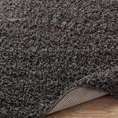 Cozy Shag Collection Charcoal Grey 8 ft. x 10 ft. Indoor Area Rug