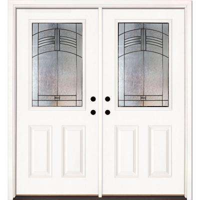 66 in. x 81.625 in. Rochester Patina 1/2 Lite Unfinished Smooth Left-Hand Inswing Fiberglass Double Prehung Front Door
