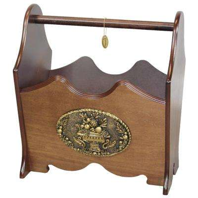 12.2 in. W x 9 in. D x 14 in. H Classic Wood Magazine Rack with Gold Plaque