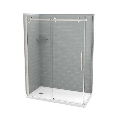 32 in. x 60 in. x 83.5 in. Direct-to-Stud Left Corner Shower Kit in Metro Ash Grey with Chrome Door