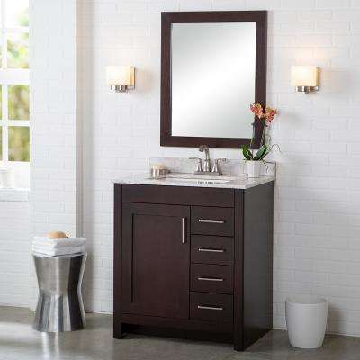 Westcourt 31 in. W x 22 in. D Bath Vanity in Chocolate with Stone Effect Vanity Top in Winter Mist with White Sink