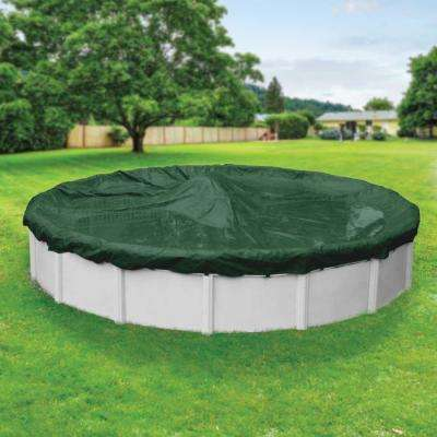 Heavy-Duty Round Grass Green Winter Pool Cover