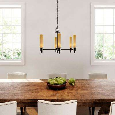 Dunwoody 6-Light Oil-Rubbed Bronze Chandelier with Tea Stained Glass Shades