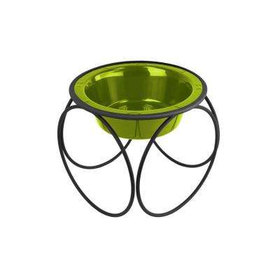 Platinum Pets 1.25 Cup Olympic Single Diner Feeder with Dog/Cat Bowl, Corona Lime