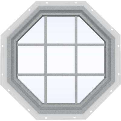 35.5 in. x 35.5 in. V-4500 Series Fixed Octagon Vinyl Window with Grids - Gray