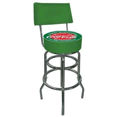 Red and Green Coca Cola 30 in. Chrome Swivel Cushioned Bar Stool