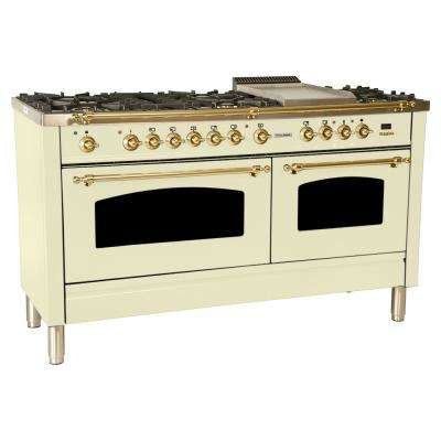 60 in. 6 cu. ft. Double Oven Dual Fuel Italian Range True Convection, 8 Burners, Griddle, Brass Trim in Antique White