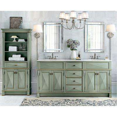 Dinsmore 72 in. W x 22 in. D Double Bath Vanity in Gilded Green with Marble Vanity Top in White