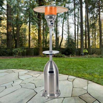 Premium 48,000 BTU Stainless Steel Gas Patio Heater with Stainless Steel Table