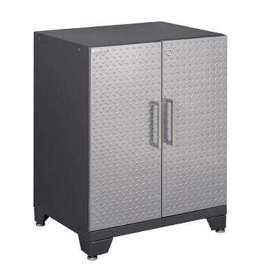 Performance Plus Diamond Plate 35 in. H x 28 in. W x 22 in. D Steel Garage Base Cabinet in Silver