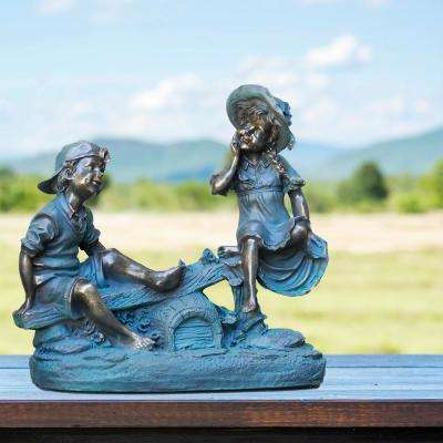 """Alpine Corporation 14"""" Tall Indoor/Outdoor Girl and Boy Playing on Teeter Totter Statue Yard Art Decoration"""