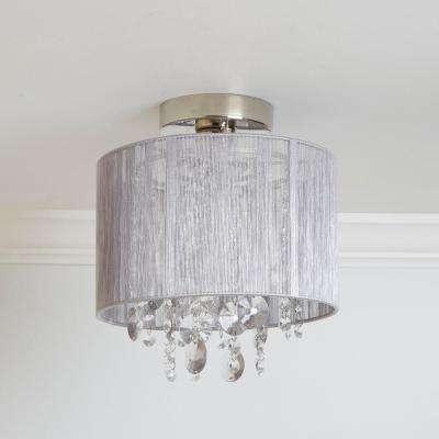 Silvia String Beaded 5-Light Polished Nickel Flush Mount Light