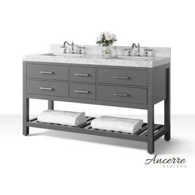Elizabeth 60 in. W x 22 in. D Vanity in Sapphire Gray with Marble Vanity Top in Carrara White with White Basins