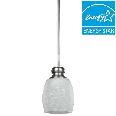 EnviroLite 1-Light Brushed Pewter Pendant with Etched Linen Glass