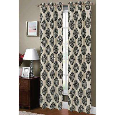 Semi-Opaque Suzani Flocked Faux Silk Grommet Curtain Panel