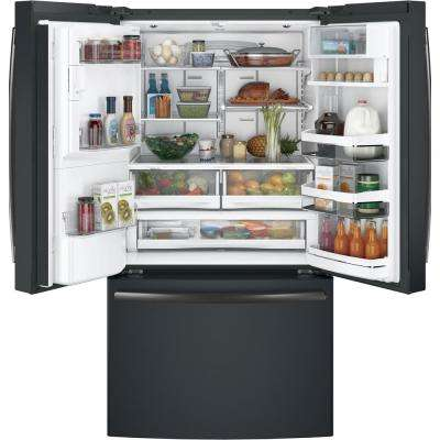 35.75 in. 27.8 cu. ft. Smart French Door Refrigerator with Keurig K-Cup and Wi-Fi in Black Slate, ENERGY STAR