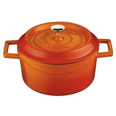 Signature 2-3/4 Qt. Enameled Cast Iron Round Dutch Oven in Orange Spice