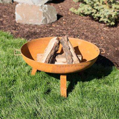 Rustic 30 in. W x 15 in. H Round Cast Iron Wood-Burning Fire Pit Bowl