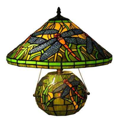16 in. Green Dragonfly Double Lit Table Lamp with Brown Base