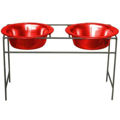 Platinum Pets 4 Cup Wrought Iron Modern Diner Dog Stand with Extra Wide Rimmed Bowls in Red