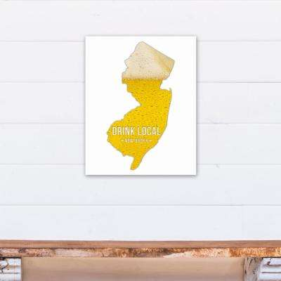 "16 in. ""x 20 in. ""New Jersey Drink Local Beer Printed Canvas Wall Art"""