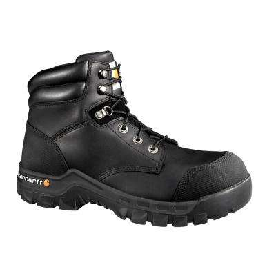 Rugged Flex Men's Black Leather Waterproof Composite Safety Toe Lace-up Work Boot