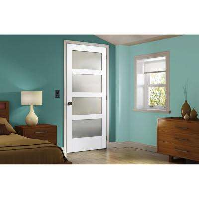 32 in. x 80 in. MODA Primed PMT1044 Solid Core Wood Interior Door Slab w/Translucent Glass
