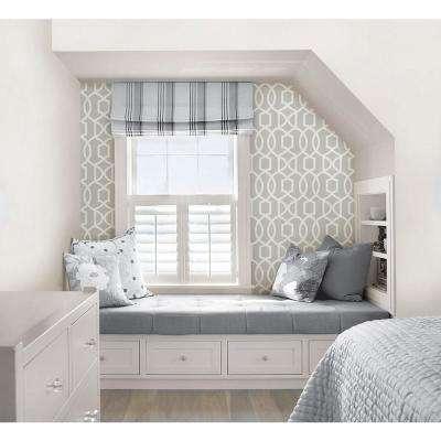 Grey Grand Trellis Peel and Stick Wallpaper Sample