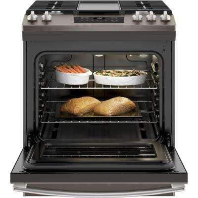 5.3 cu. ft. Slide-In Gas Range with Steam Clean Oven in Slate, Fingerprint Resistant