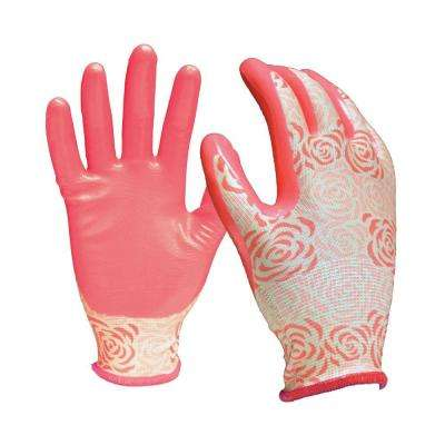 Nitrile Dipped Women's Medium Coral Fabric Gloves