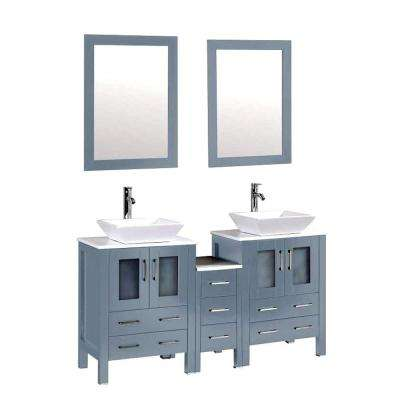 Ouriel 60 in. W x 18.25 in. D Double Vanity in Blue Grey with Marble Vanity Top in White with White Basin and Mirror