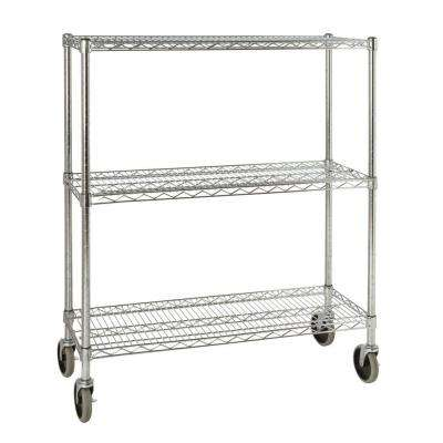 ProSave 48 3/10 in. H x 38 in. W x 14 in. D 3-Shelf Wheeled Mobile Rack for Shelf Ingredient Bins