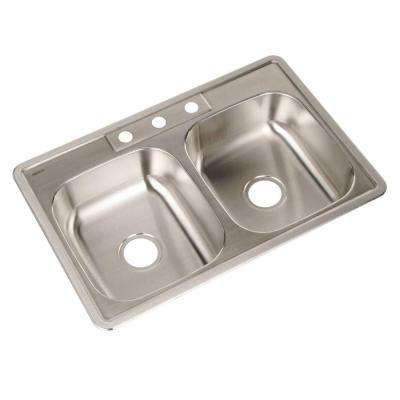 Glowtone Series Top Mount Stainless Steel 33 in. 3-Hole Single Bowl Kitchen Sink