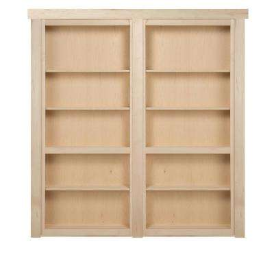 72 in. x 80 in. Flush Mount Assembled Maple Unfinished In-Swing Solid Core Interior French Bookcase Door