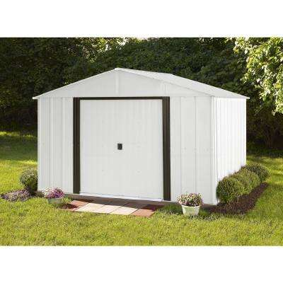 Arlington 10 ft. W x 8 ft. D 2-Tone White Galvanized Metal Storage Shed with Floor Frame Kit