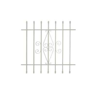36 in. x 36 in. Spear Point 7-Bar Security Bar Window Guard, White