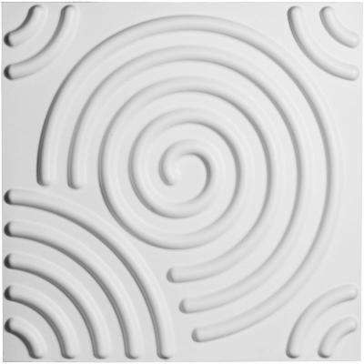3/8 in. x 19-5/8 in. x 19-5/8 in. PVC White Spiral EnduraWall Decorative 3D Wall Panel