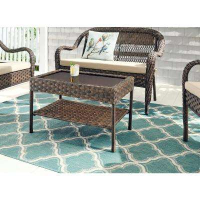 Mix and Match Brown Rectangular Resin Wicker Outdoor Patio Coffee Table
