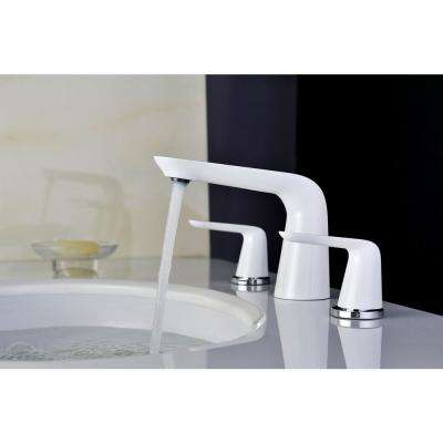 Pendant Series 8 in. Widespread 2-Handle Low-Arc Bathroom Faucet in Chrome and White