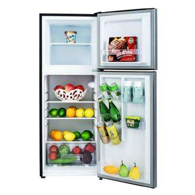 4.8 cu. ft. 2-Door Mini Fridge in Stainless Look with Freezer