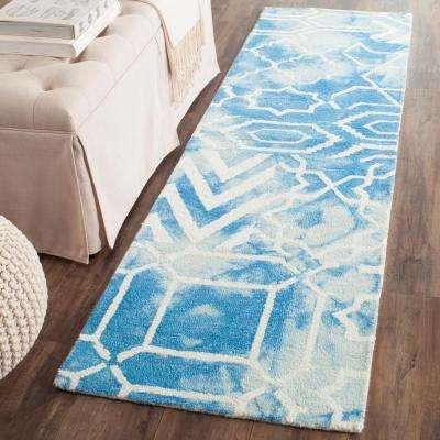 Dip Dye Blue/Ivory 2 ft. x 10 ft. Runner Rug